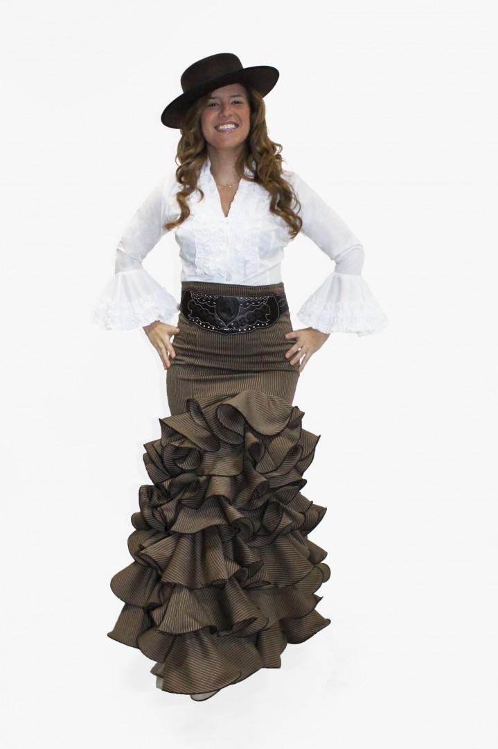 mejor selección df77f dd4b0 Falda flamenca- Modelo Mil Rayas Marrón